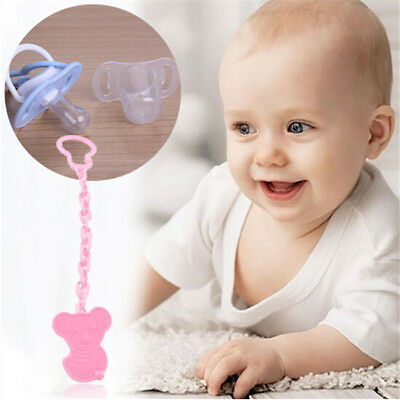 Baby Plastic Dummy Pacifier Soother Nipple Toy Chain Clip Holder Gift Toy