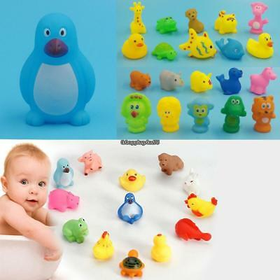 New Animals Kids Toys Soft Vinyl Float Sqeeze Sound Baby Wash Bath Play EH7E 01