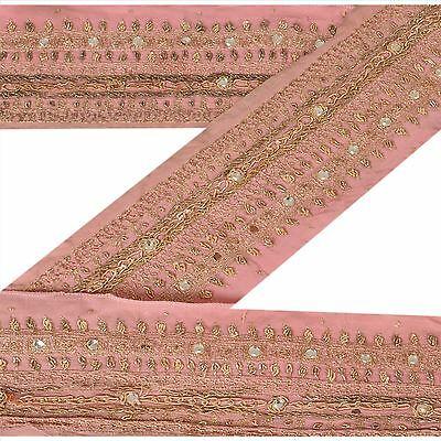 Vintage Sari Border Antique Hand Beaded 1 YD Indian Trim Sewing Peach Lace