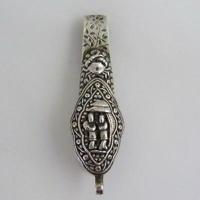 Chinese Silver Key Hook, Makers Mark, And Jin Ji Shop Mark, 19Th Century