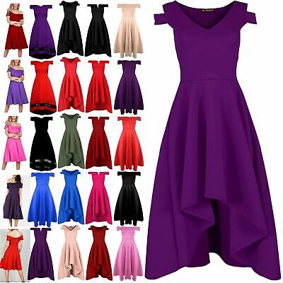 Ladies Womens V Plunge Cold Shoulder Flared High Low Skater Swing Dip Hem Dress