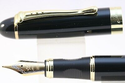 New Jinhao x450 Black Lacquer Medium Fountain Pen with Gold Trim, UK Seller