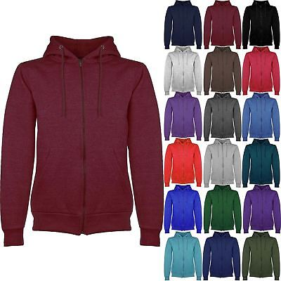 Mens Plain Hoody Hoodie Jacket Hooded Fleece Knit Zip Up Sweatshirt Zipper Top