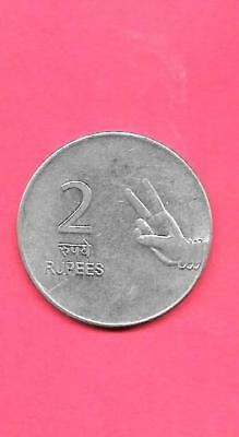 India Indian Km327 2009-B  Vf-Very Fine-Nice 2 Rupees Large Coin
