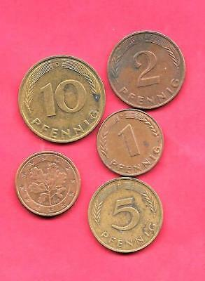 Germany German 5 Diff Different 1950-2002 Used Coin Lot Collection Set-Euro