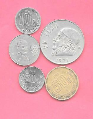 Mexico Mexican 5 Diff Different 1971-2015 Used Coin Lot Collection Set