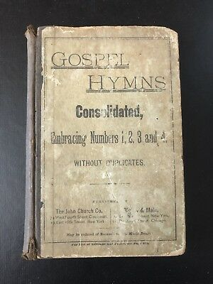 1883 Antique Hardcover Gospel Hymns Book- Distressed Decor for Library Shelves