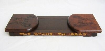liberty & co style arts & crafts pyrography book slide book rack 'old books to..