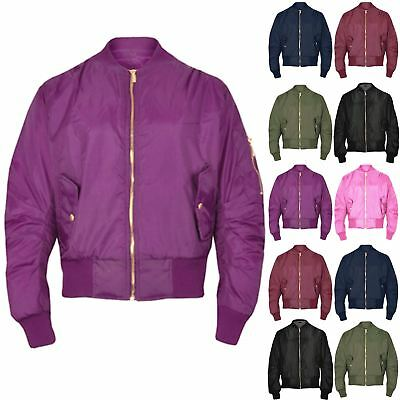 Kids Boys Girls Plain Quilted MA1 Front Pockets Button Zipped Up Bomber Jacket