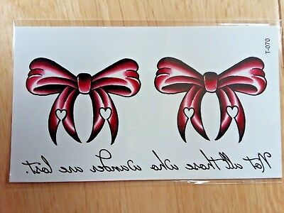 BURGUNDY BOWS TEMPORARY TATTOOS (BRAND NEW) 110mm X 60mm T070