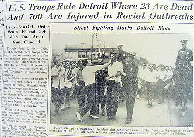 3 1943 newspapers w photos DETROIT RACE RIOT Michigan Whites attack Negroes