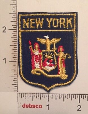 Vintage NEW YORK STATE FLAG Seal Travel Souvenir Embroidered PATCH