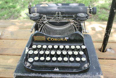 Antique 1919 Corona Model # 3 Portable Folding Typewriter Original Case
