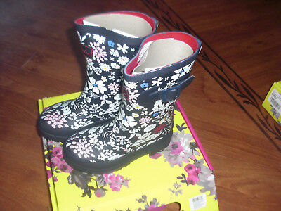 Bnwt Girls Joules Wellies Wellington Boots French Navy Ria Ditsy Size 8.