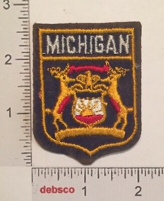 Vintage MICHIGAN STATE FLAG Seal Travel Souvenir Embroidered PATCH