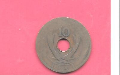 East Africa British Km26.1 1941 Fair-Damaged Old Antique Wwii 10 Cents Coin
