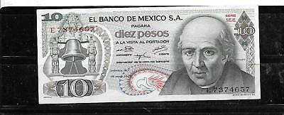 MEXICO MEXICAN #63h 1975 10 PESOS XF-AU CIRC OLD BANKNOTE PAPER MONEY BILL NOTE