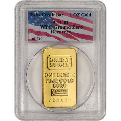 1 oz Gold Credit Suisse Bar 999.9 PCGS WTC Ground Zero Recovery Holder 1 of 426