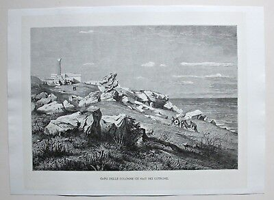 Italien, Italy, Capo Colonna bei Crotone in Kalabrien - Holzstich 1885