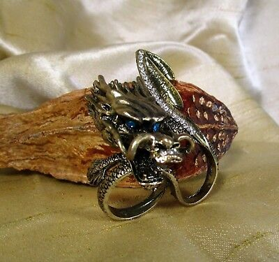"""FUN FASHION"" Buy 1 Get 1 FREE Unisex Double Finger~LARGE~Dragon Ring Crystal GP"