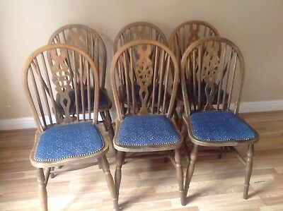 6 Antique Windsor Wheel Back Chairs