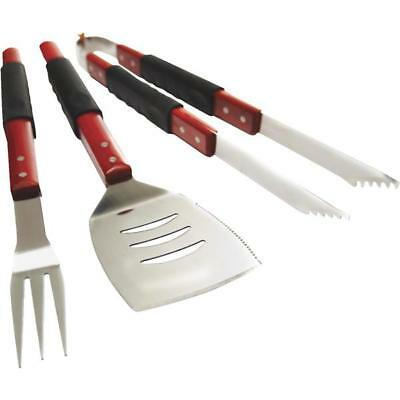3 Pk GrillPro High-Quality Wood Handle Stainless Steel 3-Piece BBQ Tool Set