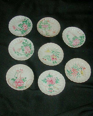 8 Old Hand Painted Porcelain Butter Pats, Butterpats, Butterflies, Flowers