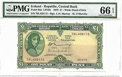 Ireland - Republic, Central Bank - 1 pound, 1976. PMG 66EPQ.