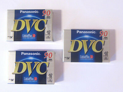 3x Panasonic DVC 90 Cassette OVP, Mini DV Digital Video Cassette, AY-DVM60FE