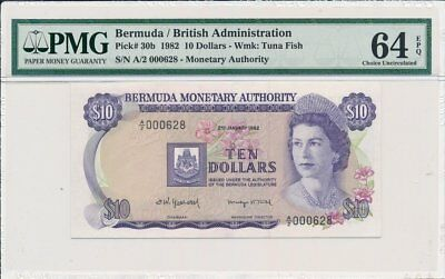 British Administration Bermuda  $10 1982 Low no.000628 PMG  64EPQ