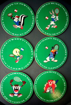 1994 6pc Tennis Coasters Set Looney Tunes Warner Bros Acme Sport Collection EXLT