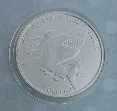 2015 Tokelau $5 Mokoha Great White Shark 1oz Silver Coin, Blazing Mint Luster