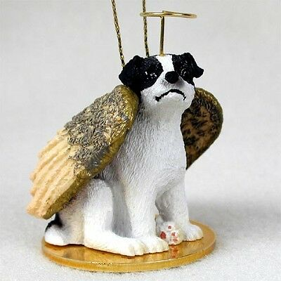 SMOOTH JACK RUSSELL B&W Dog ANGEL Ornament COLLECTIBLE resin Figurine Christmas