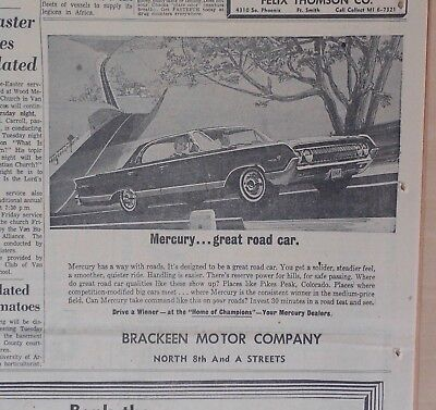 1964 newspaper ad for Mercury - great road car, solid steadier feel, smoother