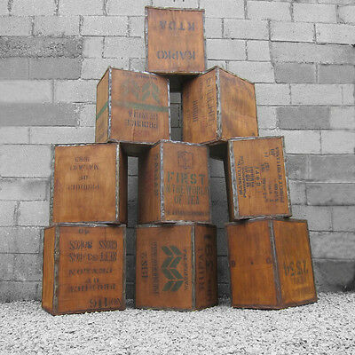 Old Tea Trunk Chest Box Storage Bedside Table Box Crate Wood Rustic Vintage 1970