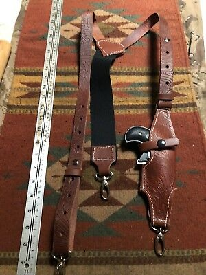 Leather Suspenders w Holster for Cobra Arms Derringer Metal Clips Used