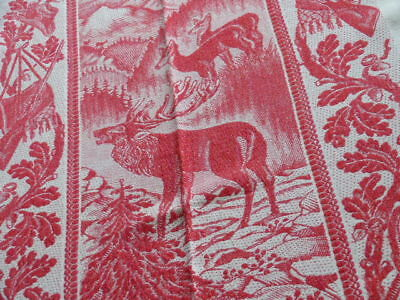 Ca. 1900 Web Tischdecke Jagd Motive Hirsch Fuchs Gewehr Hut - Hunter Tablecloth