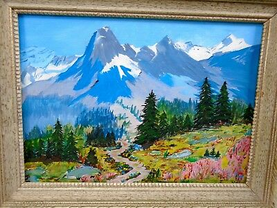Lovely Old Framed Oil Painting Mountain Wilderness Great Color Signed Fran Hill