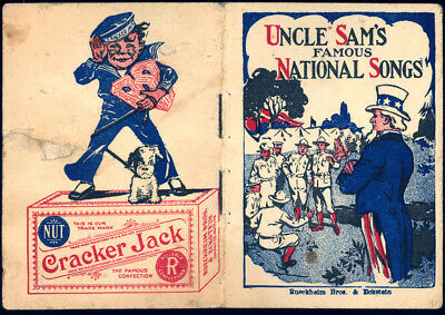 ©1918 Cracker Jack Popcorn Confection Advertising Uncle Sams National Songs Book