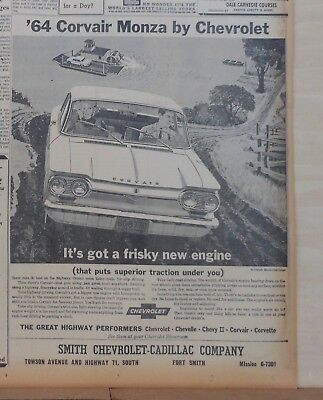 1964 newspaper ad for Chevrolet - Corvair Monza has frisky new engine, traction