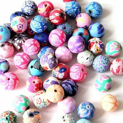30Pcs Polymer Clay Flower Design Beads Finding--Jewelry Accessory--12mm