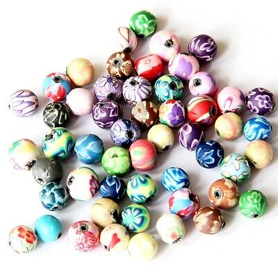 50Pcs Polymer Clay Flower Design Beads Finding--Jewelry Accessory--6mm