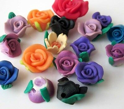 17Pcs Multi-Color Polymer Clay Rose Flower Beads Finding---Jewelry Accessory