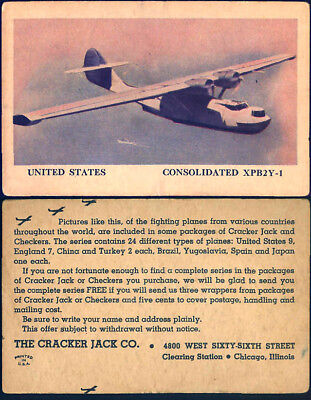 ©1944 Cracker Jack Popcorn Confection United States Airplane Prize Trading Card