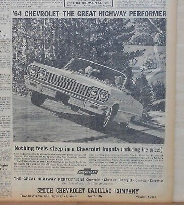 1964 newspaper ad for Chevrolet - Impala Convertible, Great Highway Performer