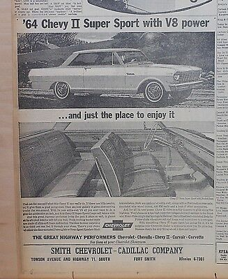 1964 newspaper ad for Chevrolet - Chevy II Nova Super Sport with bucket seats