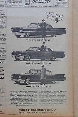 1964 newspaper ad for Cadillac - '63, '62, '60 models - All owner loved