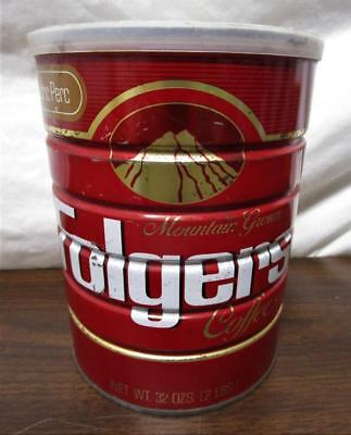 Vintage Nos Folgers Coffee 2 Pound Can W/ Plastic Lid Sealed Unopened