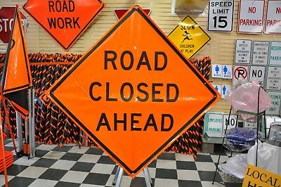 """Road Closed Ahead Fluorescent Vinyl With Ribs Road Sign 48"""" X 48"""""""