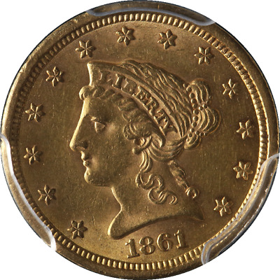 1861-P Liberty Gold $2.50 New Reverse PCGS AU58 Great Eye Appeal Nice Luster